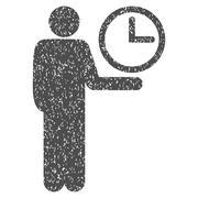 Waiter Clock Grainy Texture Icon Stock Illustration