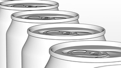 Soft drink or beer production line. White generic aluminum cans on industrial Stock Footage