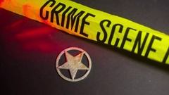 Sheriff badge warning light flash crime scene Stock Footage