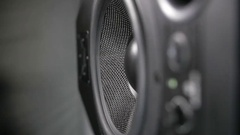 Moving black speaker Stock Footage