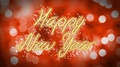 Creative Happy New Year congratulation message on romantic red background 4k or 4k+ Resolution