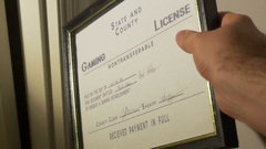 State and county gaming license Stock Footage