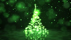 Sparkling Rotating Christmas Tree Animation - Loop Green Stock Footage