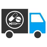 Drugstore Truck Flat Vector Icon Stock Illustration