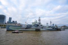 HMS Belfast Warship on River Thames Stock Photos
