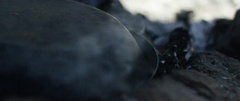 Smoke rising from extinguished campfire Stock Footage