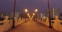Hong Kong New Town Shatin River Side Public Housing Walking On The Bridge Stock Footage