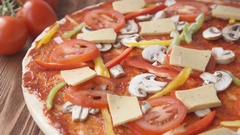 A vegetarian pizza in an oven (close-up) Stock Footage