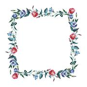 Wildflower Eustoma flower frame in a watercolor style isolated. Stock Illustration