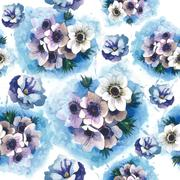 Wildflower blue anemone flower pattern in a watercolor style isolated. Stock Illustration