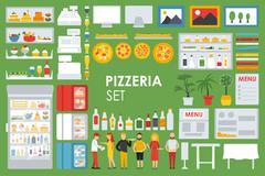 Big detailed Pizzeria Interior flat icons set. Pizza conceptual web vector Stock Illustration