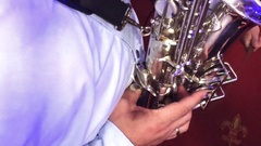 Saxophone music player closeup, SLOW MOTION Stock Footage