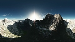 Vr 360 panorama of mountains. made with the one 360 degree lense camera without Stock Footage
