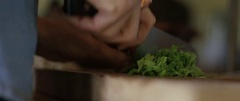 Man chopping herbs on the wooden board Stock Footage