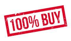 100 percent buy rubber stamp Stock Illustration