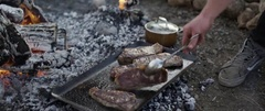 Person cooking steak on campfire at campsite Stock Footage