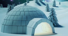 Igloo with merry christmas message Stock Footage