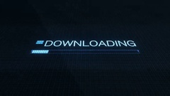 Downloading Symbol on Computer Screen Futuristic Modern Interface with Blue P Stock Footage