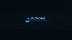 Uploading Symbol on Computer Screen Futuristic Modern Interface with Blue Pro Stock Footage