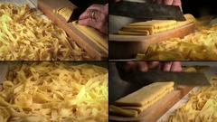 Handmade pasta: making tagliatelle at home, multi screen composition  Stock Footage