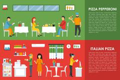 Pepperoni and Italian Pizza flat  concept web vector illustration. Pizzeria Stock Illustration