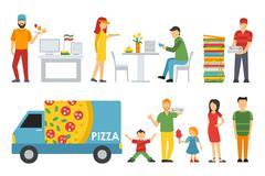 People in a Pizzeria interior flat icons set. Cashier, Customers, Bistro Stock Illustration