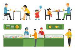 People in a Pizzeria Restaurant interior flat icons set. Pizza concept web Stock Illustration