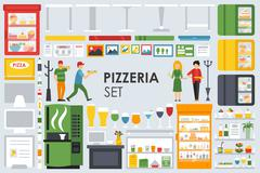 Big detailed Pizzeria Interior flat icons set. Menu, Refrigerator, Waiter Stock Illustration