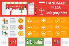 Only Handmade Pizza infographics. Flat concept web vector illustration. Pizzeria Stock Illustration