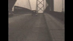 Vintage 16mm film, 1930, Detroit, driving the ambassador bridge #4, rare early Stock Footage
