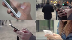 People using cell phone, smartphone in multiscreen composition  Stock Footage
