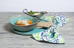 Minced turkey - stuffed paprika with mint and yogurt sauce Stock Photos