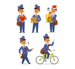 Postman character vector set. Stock Illustration