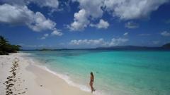 Aerial view of a bikini woman walking on the beach, st john Stock Footage
