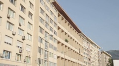 Tracking shot with communist block of flats Stock Footage