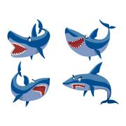 Vector shark character set. Stock Illustration