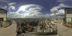 Park Republic Square aerial Sao Paulo Brazil skyline. 360 video vr panorama Stock Footage