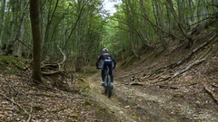 Rider cyclist on mountainbike Stock Footage