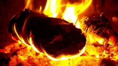 Slow Mo. 30 Sec of Burning firewood logs and flames in campfire Stock Footage