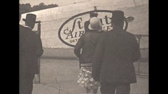Vintage 16mm film, 1930, Detroit Ford airport stout airlines passengers Stock Footage