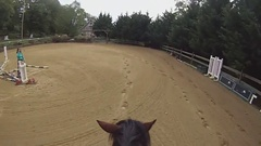GOPRO HORSEBACK RIDING  - TROT TROTTING (Clip 1) - Rider POV Perspective Stock Footage