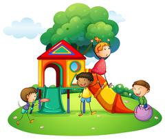 Many children playing on slide Stock Illustration