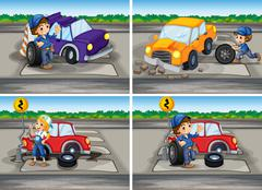 Accident scenes with broken car and mechanics Stock Illustration