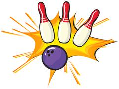Bowling pins and ball on white background Stock Illustration