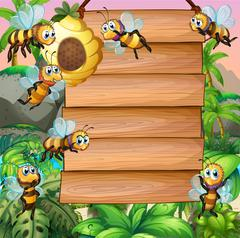 Wooden sign with bee flying in garden Stock Illustration