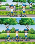 Boys and girls riding bike in garden Stock Illustration