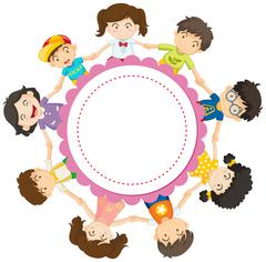 Banner design with kids holding hands in circle Stock Illustration