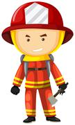 Fire fighter in safety uniform Stock Illustration