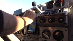 Pilots Arm and Controls in Small Aircraft Stock Footage