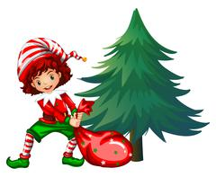 Elf dragging bag under the tree Stock Illustration